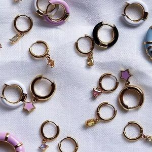 🆕 • Presley •  Pink + Gold Star Mini Hoops